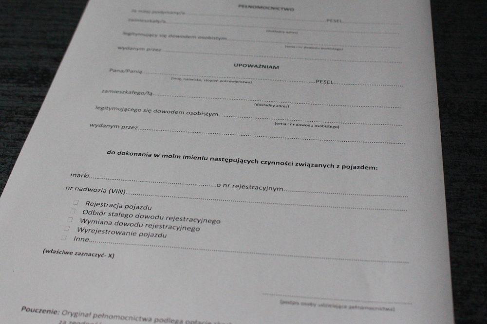 Rejestracja samochodu upoważnienie